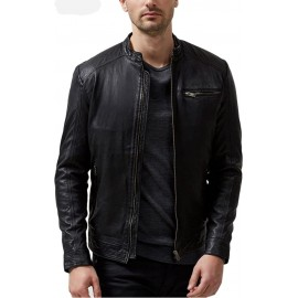 PARE Men's Leather Black Casual Jacket Slim Fit (Size : XS To 2XL)