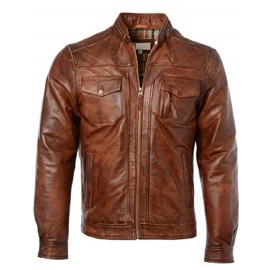 PARE Men's Leather Tan Casual Jacket Slim Fit (Size : XS To 3XL)