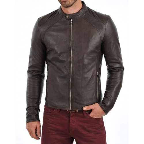 PARE Men's Leather Brown Casual Jacket Slim Fit (Size : XS To 2XL)