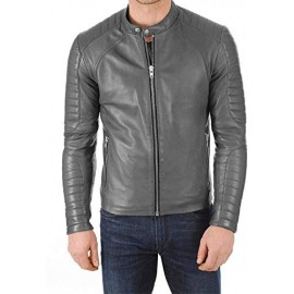 Pare Genuine Leather Grey Jacket for Men's(Size : XS to 2XL)
