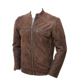 Pare Pure Genuine Leather Dark Brown Stylish Jacket for Men's(Size : XS to 2XL)