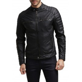 Black 100% Genuine Leather Jacket for Men's