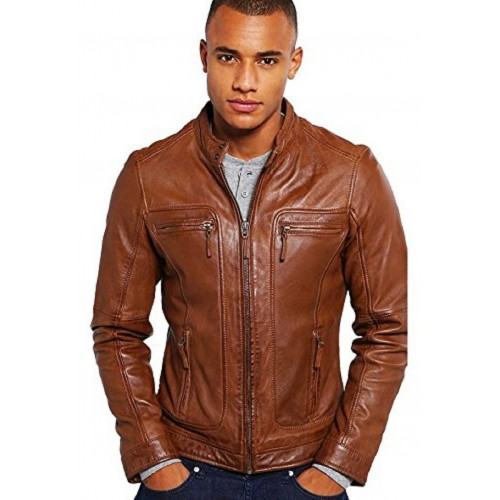 Tan 100% Genuine Leather Jacket for Men's