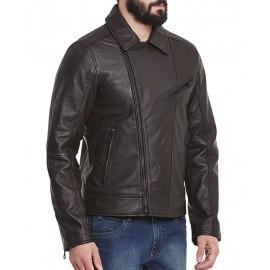 PARE Men's Leather Black Casual Jacket Slim Fit