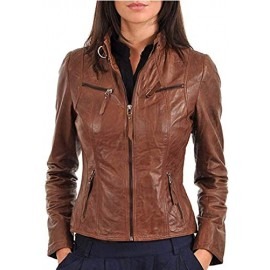 PARE Women's Jacket Genuine Leather Light Brown Stylish(Size : XS to 2XL)
