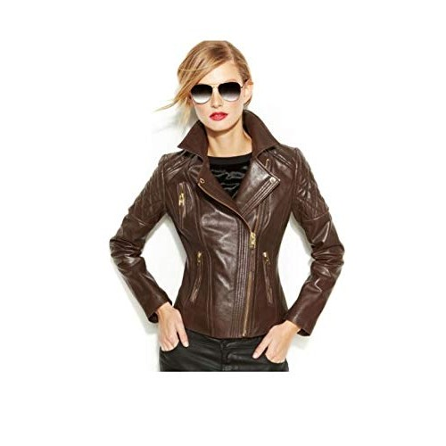 PARE Genuine Leather Brown Stylish Jacket for Women's(Size : XS to 2XL)