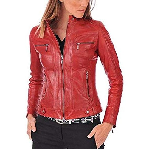 PARE Women's Genuine Leather Red Stylish Jacket (Size : XS to 2XL)