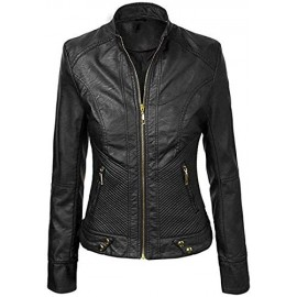 PARE Genuine Leather Black Stylish Jacket for Women's(Size : XS to 2XL)