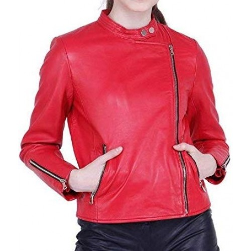PARE Genuine Leather Red Roadies Stylish Jacket for Women's(Size : XS to 2XL)