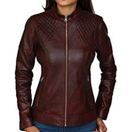 PARE Genuine Leather Dark Brown Stylish Jacket for Women's(Size : XS to 2XL)